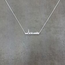 Paris Cityscape Skyline Silver Plated Necklace France Eiffel Tower Europe