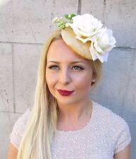Ivory Cream Gold Berry Flower Fascinator Hair Clip Races 1950s Rockabilly 2417