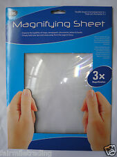 LARGE A4 Magnifying Sheet Magnifier X3 Glass Plastic BIG Reading Aid Lens Maps