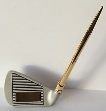 Golf Club Pen Stand With Ball Point Pen, Engraved Free, All Metal, New In Box
