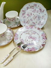Hello Kitty Quality New Bone China High Tea Set Dessert Cake Plate Dishes w Fork
