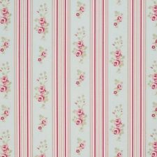 "Clarke and Clarke Floral Stripe Duckegg Fabric 137cm/ 54"" Wide"