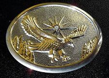 American Eagle Belt Buckle Diamond Chip 24k Plate Gold Silver Vintage Starburst