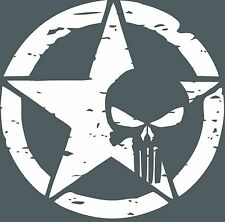 "Army Star Punisher Skull Jeep Military Distressed Decal 20"" x 20"", CHOOSE COLOR"