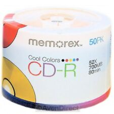 50 New Memorex 52X Cool Color 700MB 80 Min CD-R CDR [FREE USPS Priority Mail]