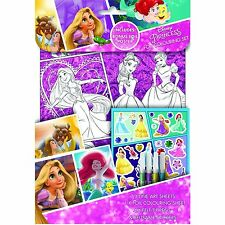 New Disney Princess Foil Colouring Set Stickers Gift GIrls Cut Around Bookmark