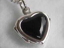 925 ECHT SILBER *** Onyx Herz Medaillon Anhänger 15x15 mm