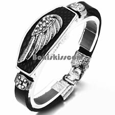 Vintage Fleur De Lis Single Angel Feather Wing Men's Leather Wrap Cuff Bracelet