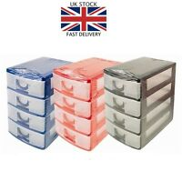 Mini 4 Drawer Tower Storage Unit For Office ORGANISER + JEWELLERY CRAFT BOX - UK