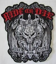 Rare Large Ride Or Die BIKER FOR LIFE Motorcycle Biker Embroidered Badge Patch