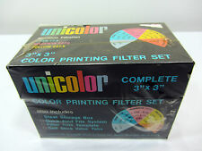 """Unicolor 3"""" x 3"""" Color Printing Filter Set Steel Storage Box New Photography"""
