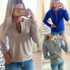 UK Ladies V-Neck Long Sleeve Womens Winter Jumper Pullover Top Sweater Blouse