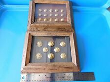 USA, MILITARY / NAVEL BRASS BUTTONS DISPLAYED IN TWO OAK FRAMES