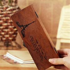 FD428 Retro Vintage Eiffel Tower Wood Wooden Pencil Case Pen Boxes Stationery A