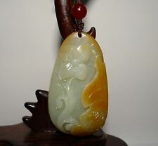 "2.4"" China Certified Nature Nephrite Hetian Jade Blessing Bat and Flower Pendant"