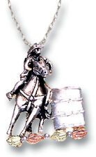 Black Hills Gold horse pendant sterling silver womens ladies barrel racing