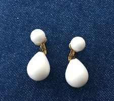 Vtg Crown Trifari White Ball with Pear Shape Drop Clip on Earring Lucite Signed