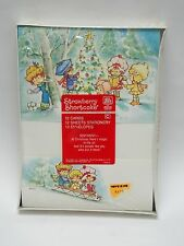 VINTAGE 1982 STRAWBERRY SHORTCAKE SENTIMENT AT CHRISTMAS STATIONARY & ENVELOPE