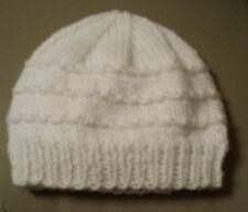 Hand knit hat newborn baby girl/boy unisex bnwt hat hand knit (white)