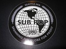 "SUB POP SEATTLE 4"" GLOBE CIRCLE LOGO Sticker Decal pearl jam nirvana"