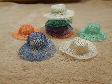 """2"""" Assorted Colors Sinamay Doll Bear Bunny Straw Hats lot of 12"""