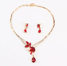 Women Wedding Bridal Crystal Pearl Ruby  Necklace Earrings Party Jewelry Set