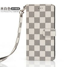 Luxury PU Leather Grid Wallet Flip Case Cover for iPhone Samsung Models