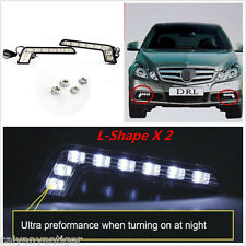2×For Benz Car L-Shape 8LED White DRL Daytime Run Driving Light Head Fog Lights