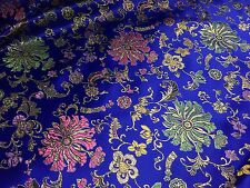 "ROYAL MULTICOLOR FLORAL METALLIC BROCADE FABRIC 60"" WIDE 1 YARD"