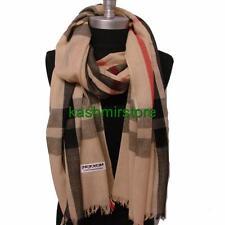 Women's Oversized Blanket Plaid Tartan Wrap Scarf Pashmina Shawl Beige #P16