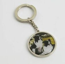 Border Collie Dogs Ready & Waiting Keyring 11082