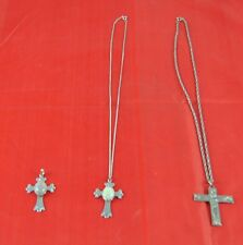Vintage Lot Of 3 Necklace Cross Moss Agate INRI Silver Tone     F1B2