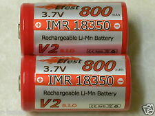 2 EFEST  IMR 18350 RECHARGEABLE BATTERY LI-MN 800mAh 3.7v HIGH DRAIN RED  B-TOP