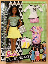 Barbie Fashionistas Glam mit Fashion Mode gelber Faltenrock DTD97 NEU/OVP Puppe