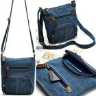 Classic Casual Womens Handbag Blue Denim Cross Body Shoulder Bag Messenger Bag