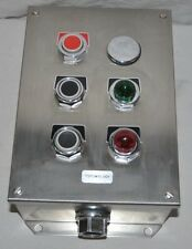 Control Station Stop Open Close Push Button w/ Light Indicators Stainless Steel