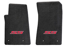 NEW! Ebony Floor Mats 2010-2013 Camaro Embroidered Logo SS in Red 2 pc SET