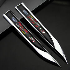 2pcs Auto car Dagger Fender Emblems Sticker Badge Decal fit for RS Racing sports