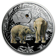 2016 Niue Silver Endangered Animal Species Asian Elephant Proof