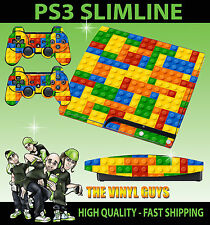 PLAYSTATION PS3 SLIM STICKER EXTRAS BRICK WALL BUILDING BLOCKS SKIN & 2 PAD SKIN
