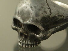 MENS STERLING SILVER SKULL RING !biker masonic handmade jewelry 25 heavy .925