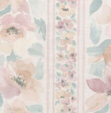 Soft Satin Elegant Floral Watercolor Flower Vintage Stripe Double Roll Wallpaper