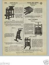 1932 PAPER AD Freeman Wood Wooden Apple Cider Mill Press Hardwood