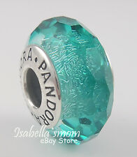 TEAL SHIMMER Authentic PANDORA Sterling Silver/MURANO Glass AQUA Charm/Bead NEW