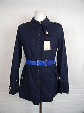 Thomas Burberry military style short trench coat jacket navy blue belted Large