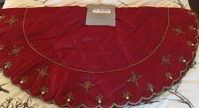 Kim Seybert Dark RED Christmas Tree Skirt Red- Green Beads Gorgeous New w/ tags
