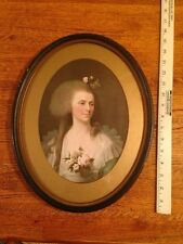 """Vintage Oval picture frame 12""""x15"""" with fine lithograph of a lady"""