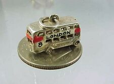 Vintage Sterling Silver Enamel LONDON DOUBLE DECKER BUS Charm