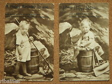R&L Postcard: British Child/Boy Portraits Toy Boat/Yacht, Birthday