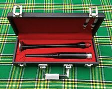 NEW PRACTICE CHANTER ROSE WOOD SILVER MOUNTS BLACK FINISH/Carrying box+2 Reeds